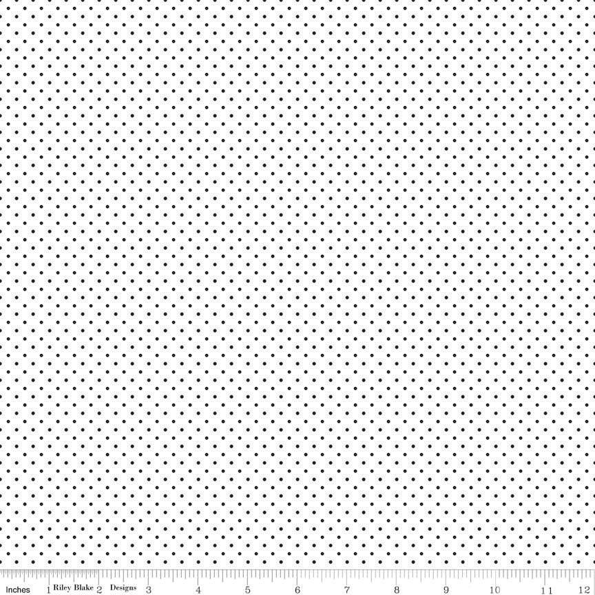 Dot /& Dash Black Xs on White by Riley Blake C6176 WHITE