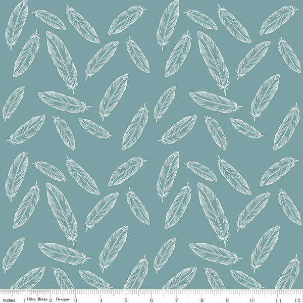 638df245463 Stretch Jersey Knit By Popular Demand Feathers Teal | Riley Blake ...