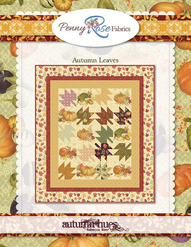 """""""Autumn Leaves"""" Free Autumn Quilt Pattern designed by Penny Rose Fabrics from Riley Blake Designs"""