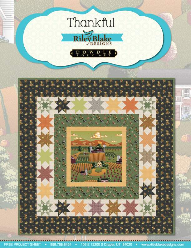 """""""Thankful"""" Free Autumn Quilt Pattern designed by Dowdle Folk Art from Riley Blake Designs"""