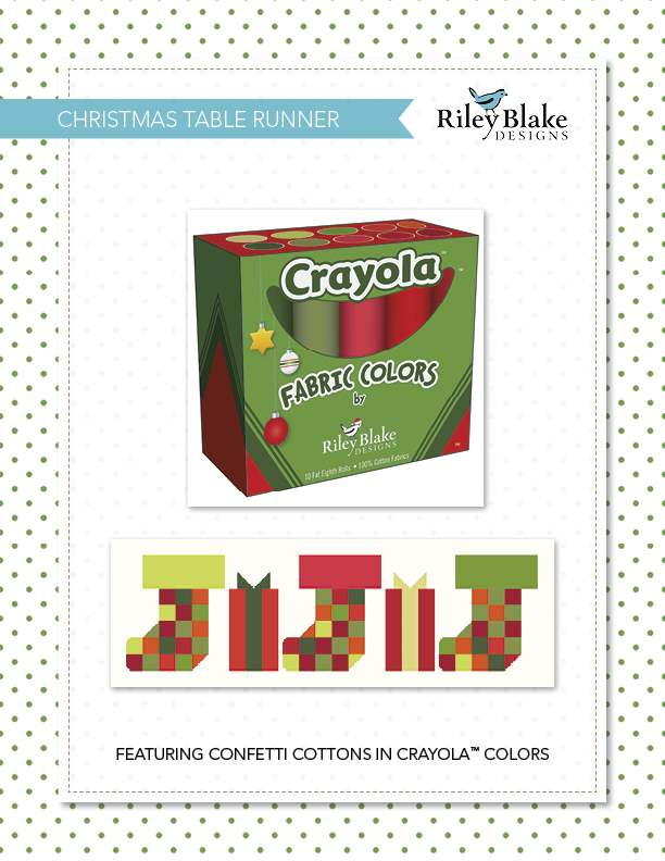"""Christmas Table Runner"" Free Pattern designed by and from Riley Blake Designs"