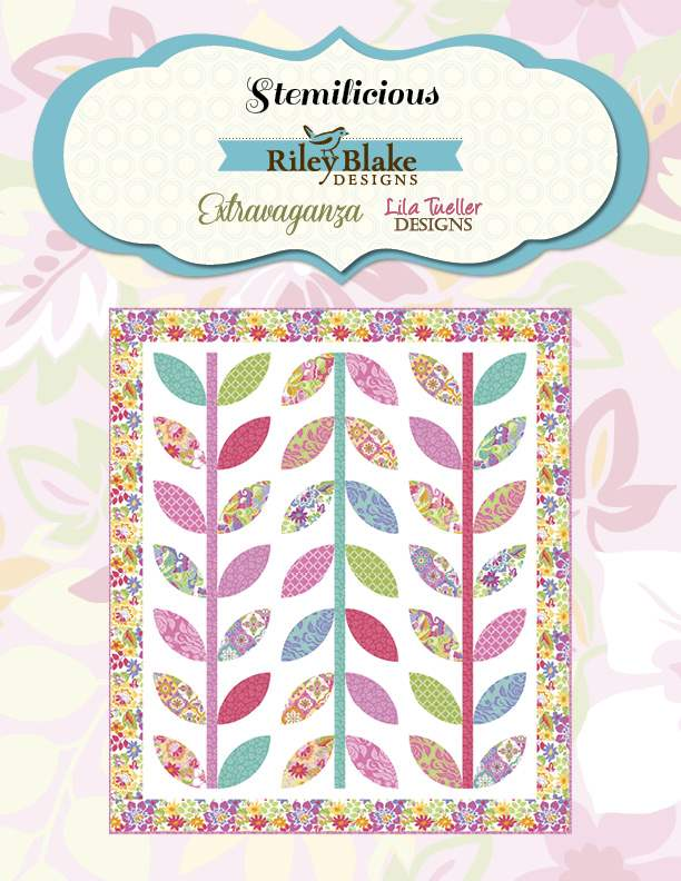 """Stemilicious"" Free Appliqué Quilt Block Pattern designed by Lila Tueller from Extravaganza brought to you by Riley Blake Designs"