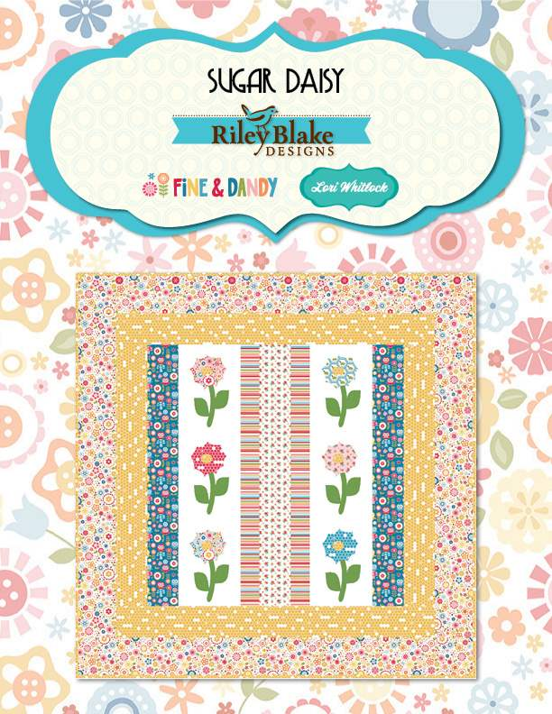 """Sugar Daisy"" Free Appliqué Quilt Block Pattern designed by Lori Whitlock from Fine & Dandy brought to you by Riley Blake Designs"