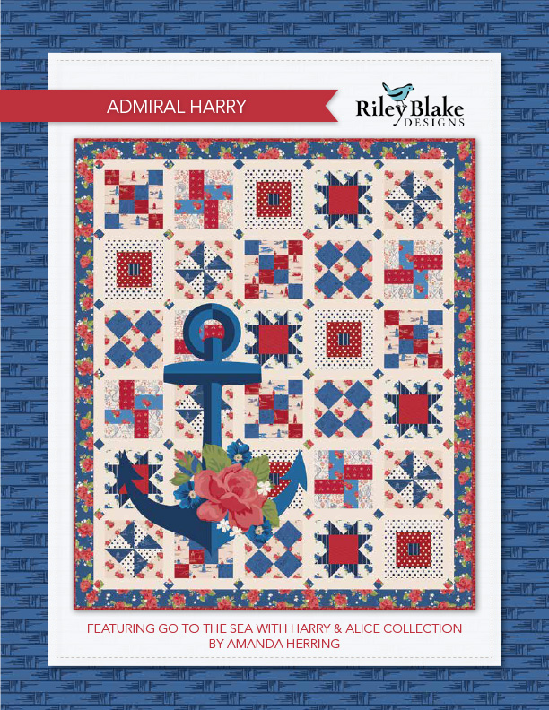 """Admiral Harry"" a Free Quilts of Valor Pattern designed & from Riley Blake Designs"