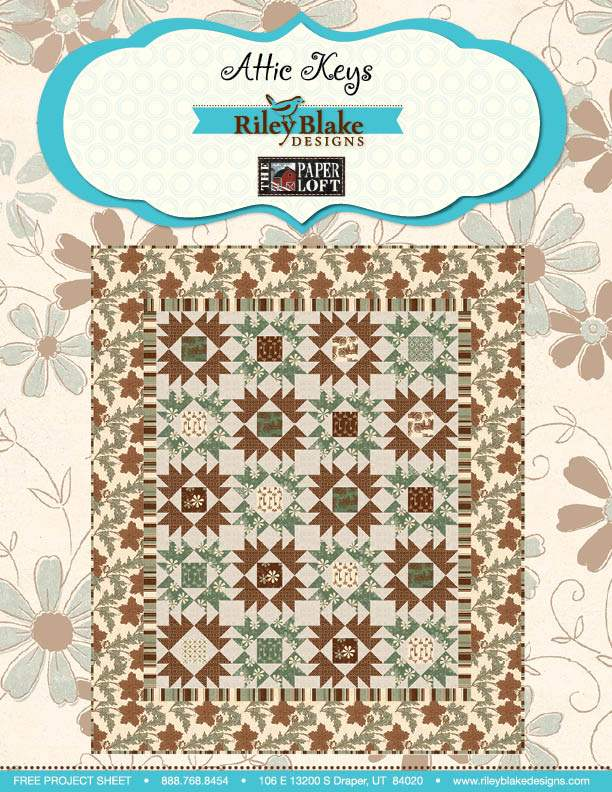 """""""Attic Keys"""" Free Autumn Quilt Pattern designed by The Paper Loft Designs from Riley Blake Designs"""