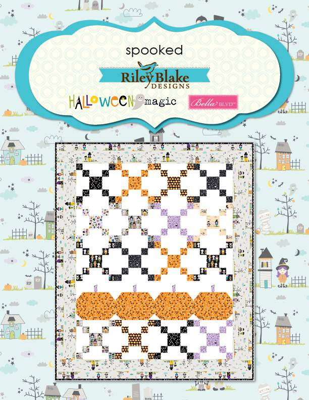 """Spooked"" Free Halloween Quilt Pattern designed by & from Riley Blake Designs"
