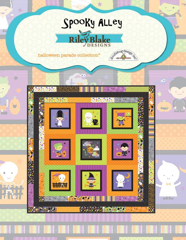 """Spooky Alley"" Free Halloween Quilt Pattern designed by Doodlebug Design Inc. from Riley Blake Designs"