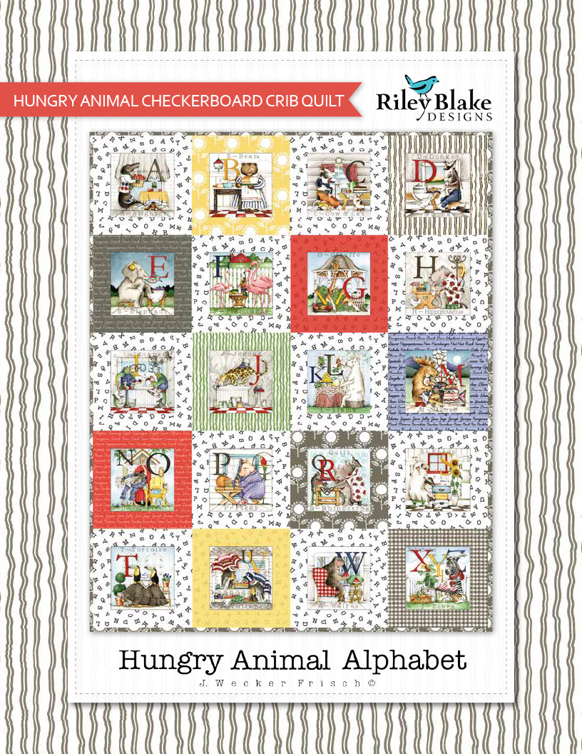 """""""Hungry Animal Checkerboard Crib Quilt"""" a Free Baby Quilt Pattern designed & from Riley Blake Designs"""