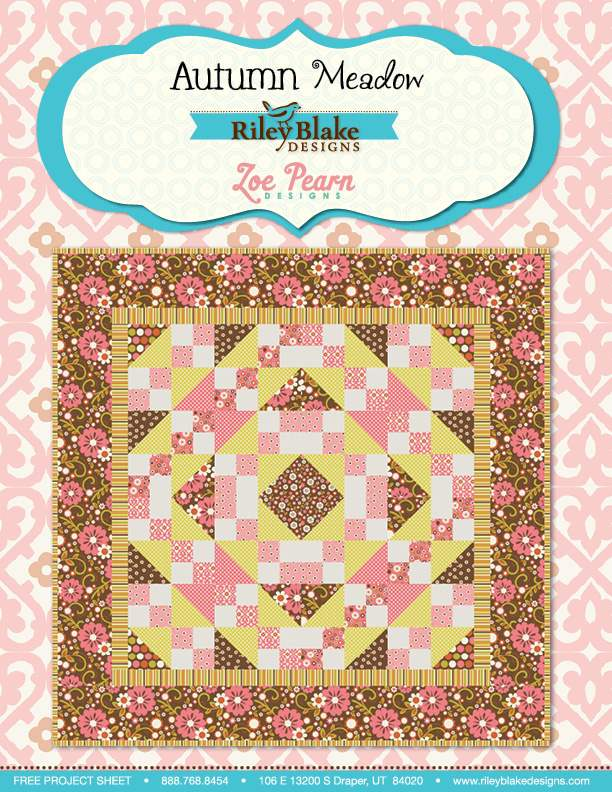 """""""Autumn Meadow"""" Free Autumn Quilt Pattern designed by Zoe Pearn Designs from Riley Blake Designs"""