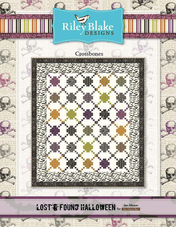"""Crossbones"" Free Halloween Quilt Pattern designed by & from Riley Blake Designs"