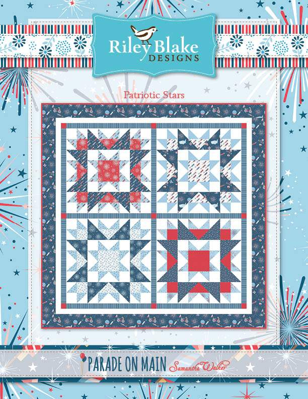 """Patriotic Stars"" Free Patriotic Quilt Pattern designed by & from Riley Blake Designs"