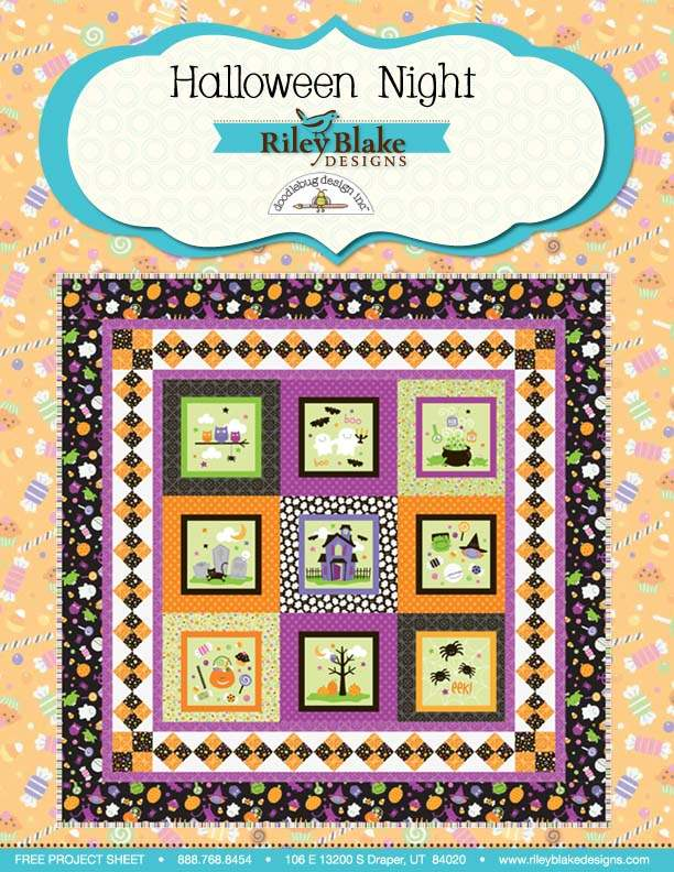"""Halloween Night"" Free Halloween Quilt Pattern designed by Doodlebug Design Inc. from Riley Blake Designs"