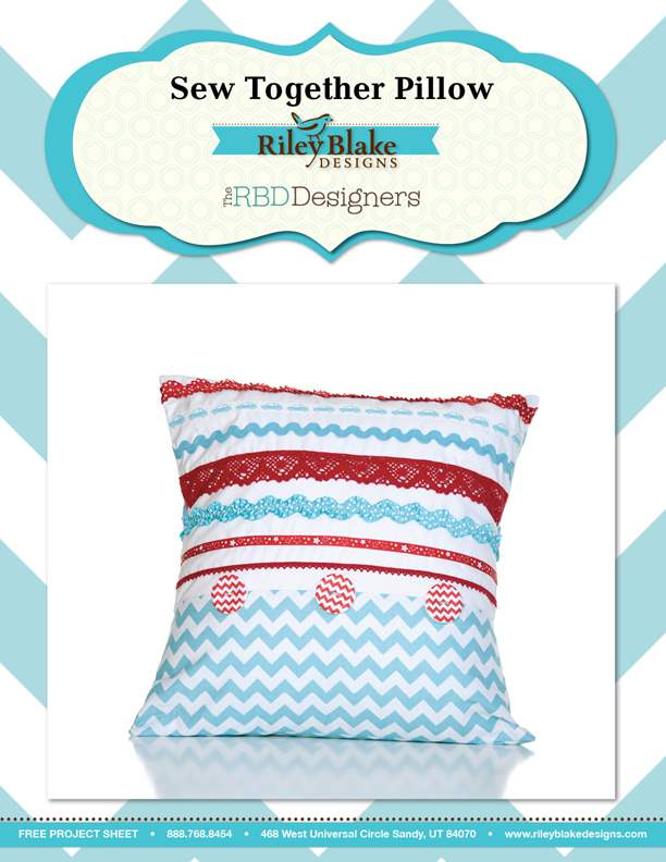 """Sew Together Pillow"" Free Pattern designed by the RBD Designers from Riley Blake Designs"